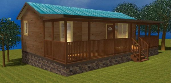 34 X 12 Rv Park Log Cabin With Front Kitchen Id 19