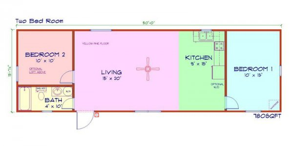 50 39 x 16 39 modular log cabin home nc two bedroom id 88 for Modular log cabin floor plans